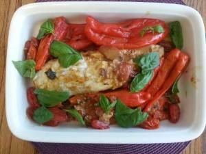 Monkfish (anglefish) with peppers