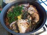 Rabbit cooked in Lemon Juice with Thyme or Oregano